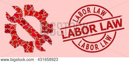 Grunge Labor Law Stamp Seal, And Red Love Heart Mosaic For Service Tools. Red Round Stamp Seal Inclu