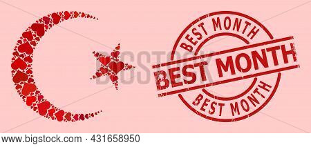 Textured Best Month Stamp, And Red Love Heart Mosaic For Muslim Moon. Red Round Stamp Seal Includes