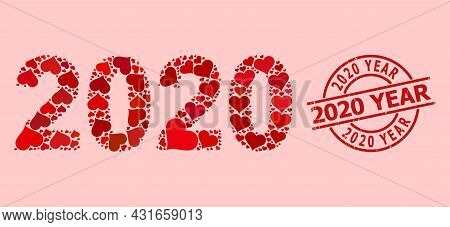 Distress 2020 Year Stamp Seal, And Red Love Heart Mosaic For 2020 Year Digits. Red Round Stamp Seal