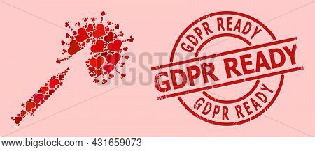 Grunge Gdpr Ready Stamp Seal, And Red Love Heart Pattern For Virus Vaccine Injection. Red Round Stam
