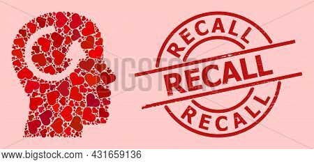 Rubber Recall Stamp Seal, And Red Love Heart Mosaic For Remember. Red Round Stamp Seal Has Recall Ti