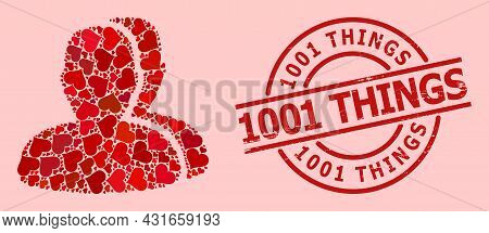 Distress 1001 Things Stamp Seal, And Red Love Heart Mosaic For Customers. Red Round Stamp Seal Has 1