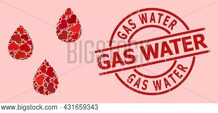 Scratched Gas Water Stamp Seal, And Red Love Heart Collage For Water Drops. Red Round Stamp Seal Con