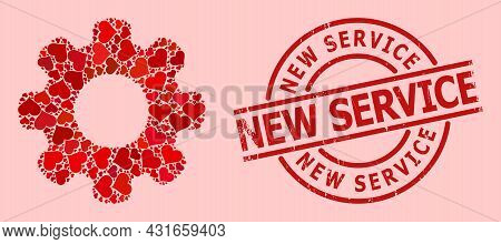 Distress New Service Stamp Seal, And Red Love Heart Collage For Gear Wheel. Red Round Seal Includes