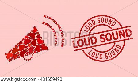 Scratched Loud Sound Stamp, And Red Love Heart Mosaic For Marketing Horn. Red Round Stamp Contains L