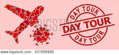Distress Day Tour Stamp Seal, And Red Love Heart Mosaic For Infected Airplane. Red Round Stamp Seal