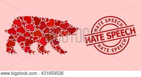 Scratched Hate Speech Stamp Seal, And Red Love Heart Mosaic For Bear. Red Round Stamp Seal Contains