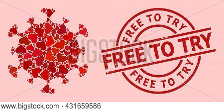 Rubber Free To Try Seal, And Red Love Heart Mosaic For Covid Virus. Red Round Seal Has Free To Try C