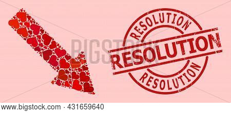 Scratched Resolution Stamp Seal, And Red Love Heart Mosaic For Right Down Arrow. Red Round Stamp Sea