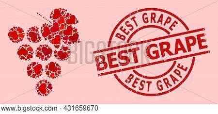 Rubber Best Grape Stamp Seal, And Red Love Heart Pattern For Grape Bunch. Red Round Stamp Seal Has B