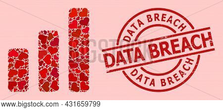 Grunge Data Breach Stamp Seal, And Red Love Heart Collage For Bar Chart. Red Round Seal Includes Dat