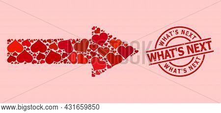 Rubber Whats Next Stamp, And Red Love Heart Mosaic For Right Arrow. Red Round Stamp Includes Whats N