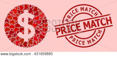 Distress Price Match Stamp Seal, And Red Love Heart Mosaic For Price. Red Round Stamp Seal Includes