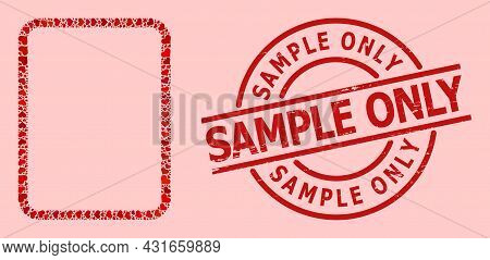 Textured Sample Only Seal, And Red Love Heart Mosaic For Empty Page. Red Round Stamp Seal Has Sample