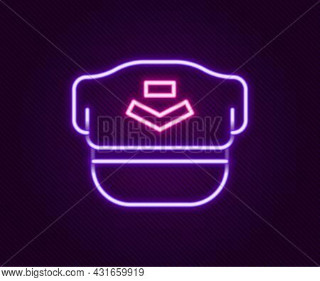 Glowing Neon Line Pilot Hat Icon Isolated On Black Background. Colorful Outline Concept. Vector