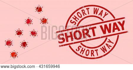 Rubber Short Way Stamp, And Red Love Heart Mosaic For Virus Trace. Red Round Stamp Seal Has Short Wa