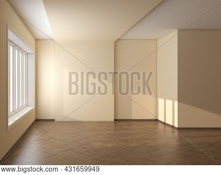 Empty Room With Beige Walls, Large Window, Parquet Floor And A Brown Plinth With Work Path On Window