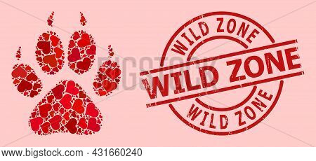 Rubber Wild Zone Stamp, And Red Love Heart Collage For Tiger Footprint. Red Round Stamp Seal Include