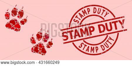 Distress Stamp Duty Stamp, And Red Love Heart Collage For Tiger Fingerprints. Red Round Stamp Seal C
