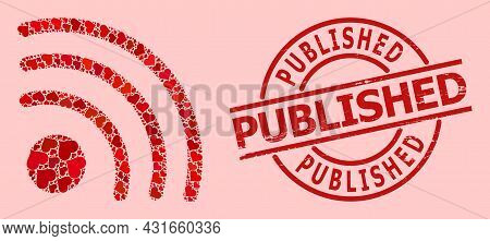 Distress Published Stamp, And Red Love Heart Collage For Wi-fi Signal. Red Round Stamp Seal Contains