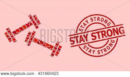 Scratched Stay Strong Stamp Seal, And Red Love Heart Mosaic For Barbells. Red Round Stamp Has Stay S
