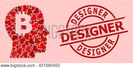 Distress Designer Stamp Seal, And Red Love Heart Mosaic For Bitcoin Imagination. Red Round Stamp Sea