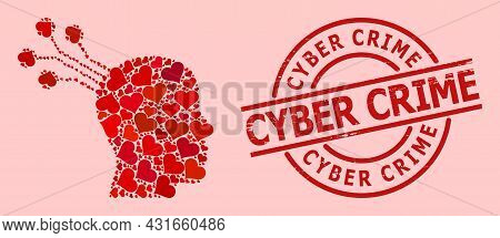 Grunge Cyber Crime Badge, And Red Love Heart Collage For Brain Machine Interface. Red Round Badge Co