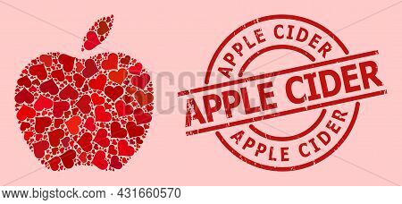 Textured Apple Cider Stamp, And Red Love Heart Mosaic For Apple. Red Round Stamp Includes Apple Cide