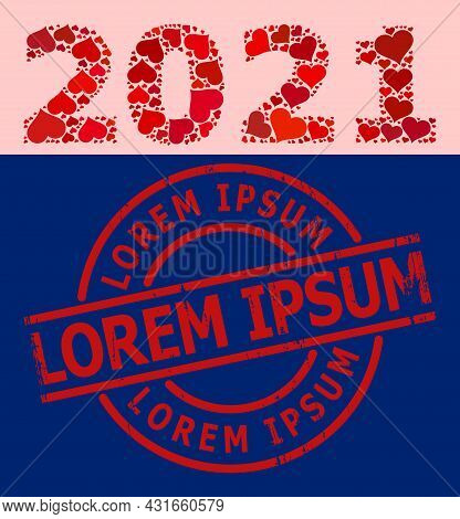 Scratched Lorem Ipsum Stamp Seal, And Red Love Heart Mosaic For 2021 Year Digits. Red Round Stamp Se