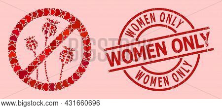 Grunge Women Only Stamp Seal, And Red Love Heart Pattern For Stop Poppy Plants. Red Round Stamp Seal
