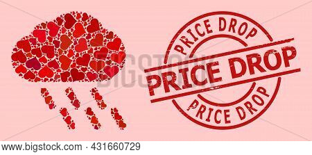 Textured Price Drop Stamp Seal, And Red Love Heart Mosaic For Rain. Red Round Badge Has Price Drop T