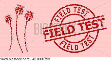 Scratched Field Test Stamp Seal, And Red Love Heart Collage For Poppy Plants. Red Round Stamp Seal H