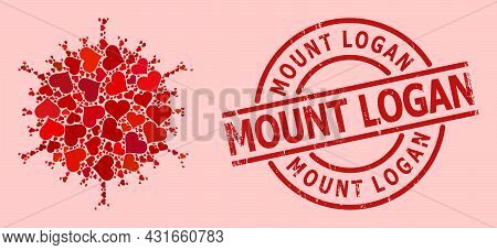 Grunge Mount Logan Badge, And Red Love Heart Mosaic For Flu Virus. Red Round Badge Contains Mount Lo