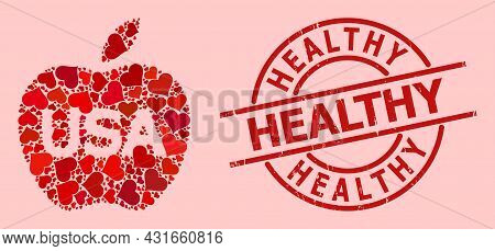 Textured Healthy Stamp Seal, And Red Love Heart Mosaic For American Apple. Red Round Stamp Seal Cont