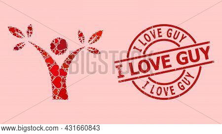 Textured I Love Guy Stamp Seal, And Red Love Heart Mosaic For Tree Man. Red Round Seal Has I Love Gu