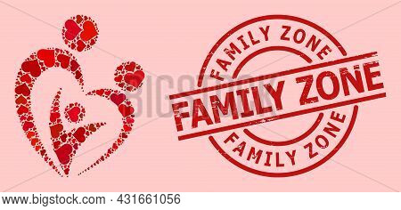 Rubber Family Zone Stamp Seal, And Red Love Heart Mosaic For Family. Red Round Stamp Seal Has Family