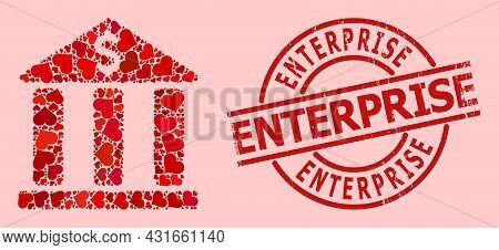 Textured Enterprise Stamp Seal, And Red Love Heart Mosaic For Bank Building. Red Round Stamp Seal Co