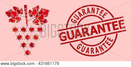 Rubber Guarantee Badge, And Red Love Heart Collage For Virus Grapes Bunch. Red Round Badge Contains