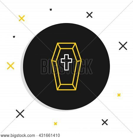 Line Coffin With Christian Cross Icon Isolated On White Background. Happy Halloween Party. Colorful