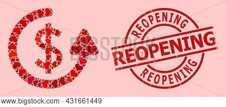 Scratched Reopening Stamp, And Red Love Heart Mosaic For Repeat Payment. Red Round Stamp Seal Has Re