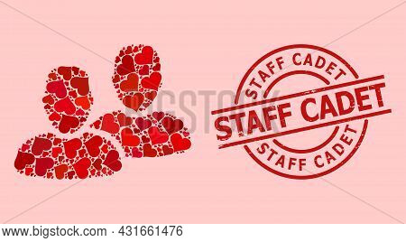 Scratched Staff Cadet Stamp Seal, And Red Love Heart Mosaic For Clients. Red Round Stamp Has Staff C