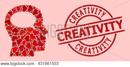 Scratched Creativity Stamp Seal, And Red Love Heart Mosaic For Thinking. Red Round Stamp Seal Contai