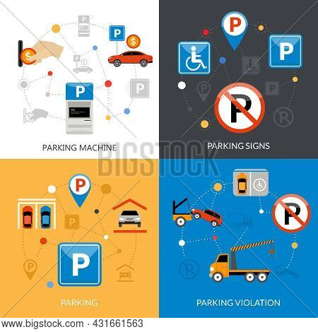 Icon Isolated Flat Conceptual Parking Set With Different Aspects Of Parking Process Vector Illustrat