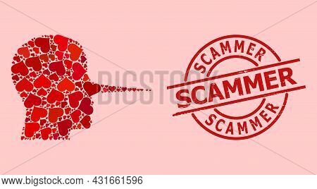 Grunge Scammer Badge, And Red Love Heart Collage For Liar Person. Red Round Badge Contains Scammer T