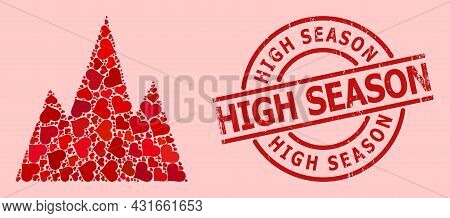 Distress High Season Seal, And Red Love Heart Collage For Mountains. Red Round Stamp Seal Contains H
