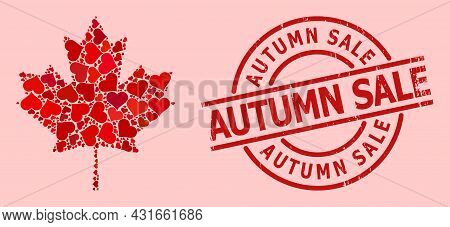 Distress Autumn Sale Stamp Seal, And Red Love Heart Mosaic For Maple Leaf. Red Round Stamp Has Autum