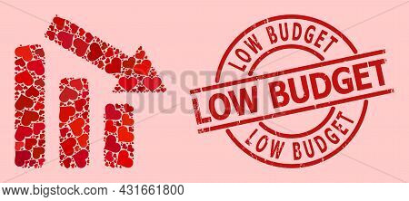 Scratched Low Budget Stamp Seal, And Red Love Heart Collage For Down Trend Bar Chart. Red Round Stam