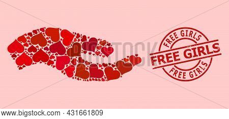 Rubber Free Girls Stamp Seal, And Red Love Heart Pattern For Asking Hand. Red Round Stamp Seal Has F