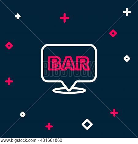Line Alcohol Or Beer Bar Location Icon Isolated On Blue Background. Symbol Of Drinking, Pub, Club, B