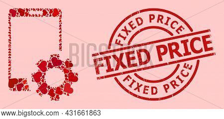 Textured Fixed Price Badge, And Red Love Heart Collage For Smartphone Settings. Red Round Badge Incl